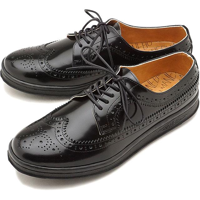 【即納】マネブ MANEBU ウィングチップ レザーシューズ UKI FACESKIN レザースニーカー メンズ 靴 BLACK (MNB-003B FW18)【コンビニ受取対応商品】