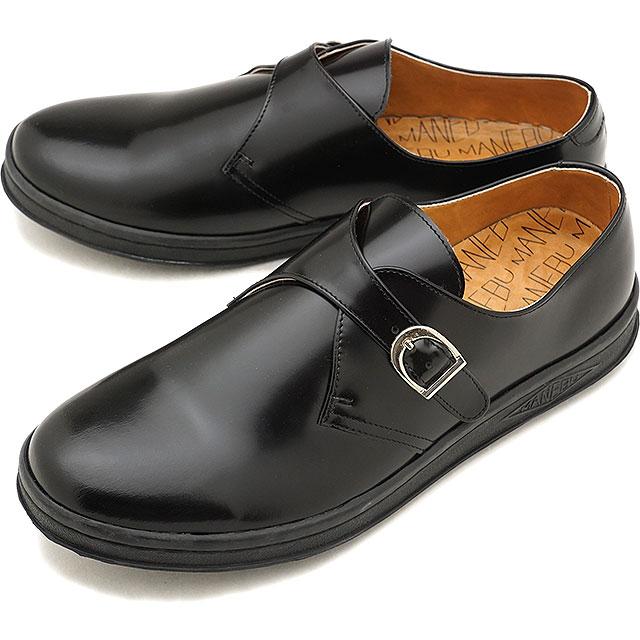 マネブ MANEBU モンクストラップ スエードシューズ FOOT FACESKIN レザースニーカー メンズ 靴 BLACK [MNB-015B FW18]