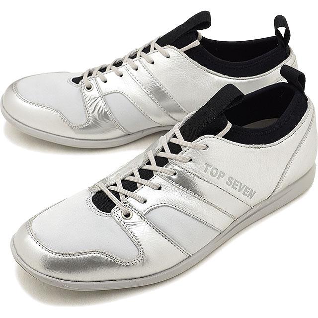 【5%OFFクーポン対象品】トップセブン TOP SEVEN TS-8805 ローカット レザー スニーカー SILVER メンズ 靴 [FW18]