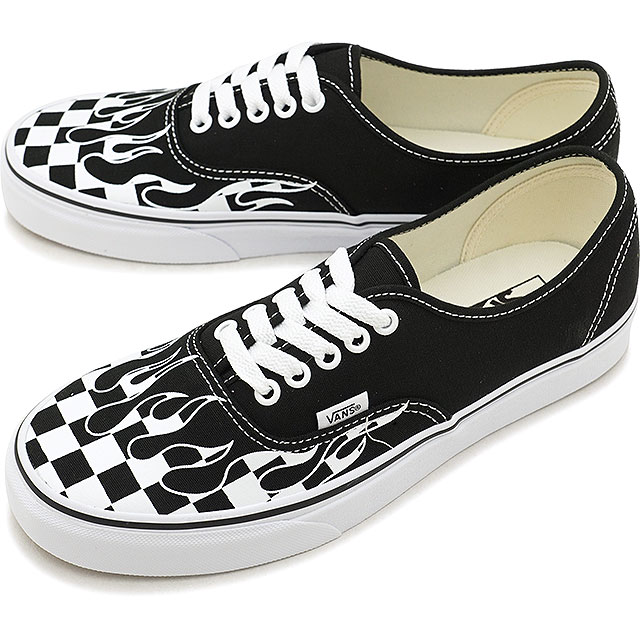 Vans VANS authentic AUTHENTIC CHECKER FLAME men gap Dis sneakers shoes  BLACK T.WHITE (VN0A38EMRX8 HO18) b7639ad26