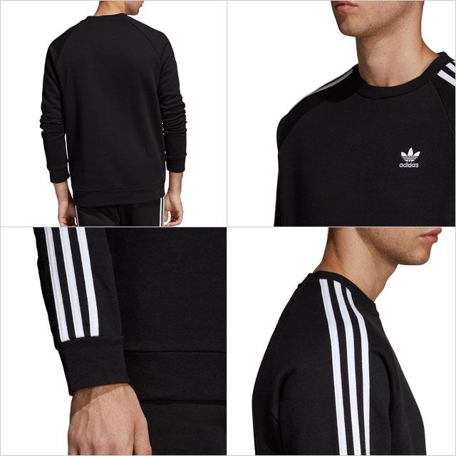 Adidas originals adidas Originals men crew neck sweat shirt 3 STRIPES CREW three stripe crew trainer black [FUC99DV1555 SS19]