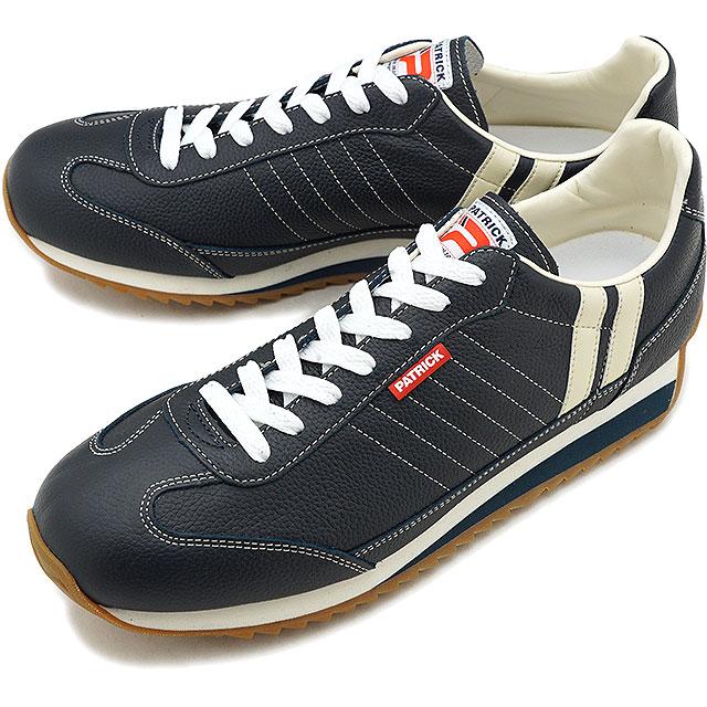 【返品送料無料】【定番モデル】PATRICK パトリック スニーカー MARATHON-L マラソン・レザー メンズ・レディース 日本製 靴 NVY ネイビー [98902]
