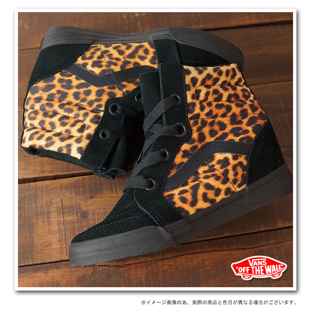 01b3a21228dda3 □□VANS vans sneakers CLASSICS SK8-HI WEDGE skating high wedge sole  (LEOPARD) BLACK (VN-0UDH0K3 FW13)