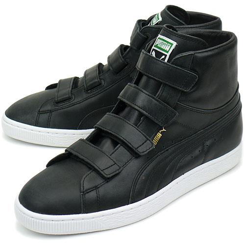 ■■PUMA Puma sneakers suede mid leather V suede mid V leather black (352,000 02 FA11)
