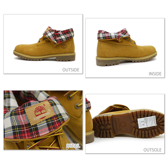 timberland boots roll top red plaid