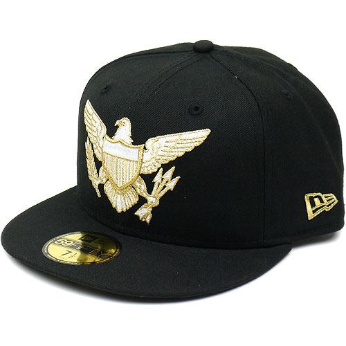 NEWERA new era NEWERA caps 59 FIFTY LOGO VARIATIONS series EAGLE Black /  metallic gold (N0010779) (NEW ERA)