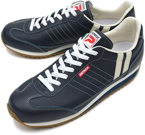 【返品送料無料】【定番モデル】PATRICK パトリック スニーカー MARATHON-L マラソン・レザー メンズ レディース 日本製 靴 NVY ネイビー [98902]