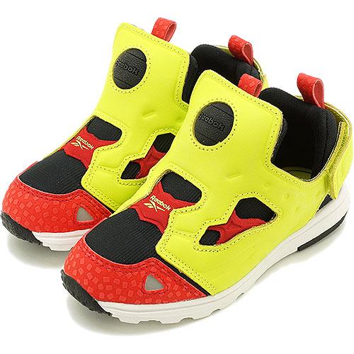 ddad4f99e75836 mischief  Reebok Reebok kids  amp  baby sneakers VERSA PUMP FURY  バーサポンプフューリーブラック   hyper green   Reebok red   white (V61065 SS14)