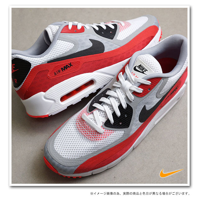 ■■NIKE Nike sneakers AIR MAX 90 Air Max 90 breeze white black wolf gray university red laser crimson team red (644,204 106 SU14)