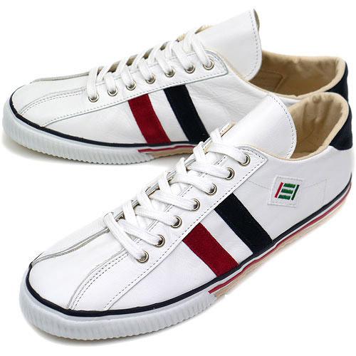 【即納】maccheronian マカロニアン レザー スニーカー 靴 2215L WHITE/RED/NAVY【コンビニ受取対応商品】