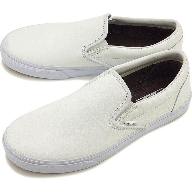 Vans Classic Slip On Classics Crackle LEATHER Blanc de Blanc