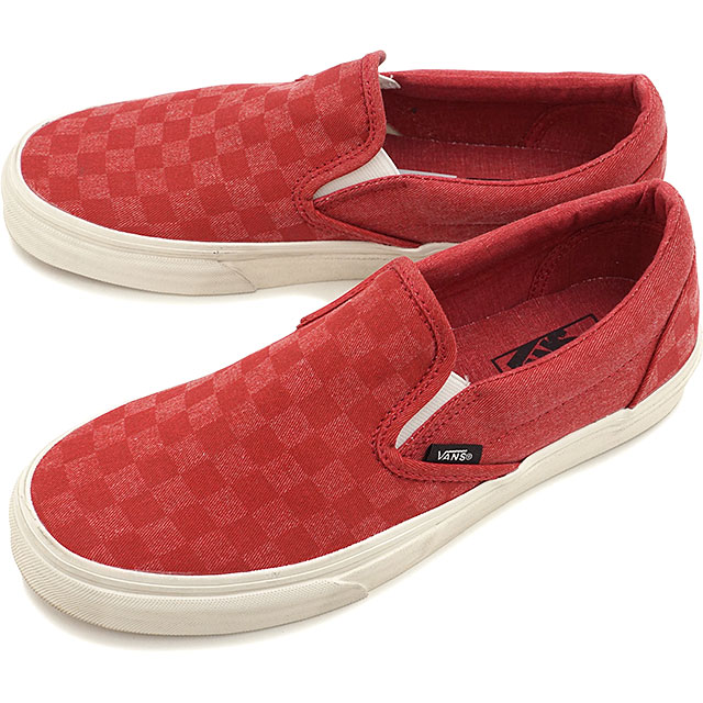 2b495bb0bf VANS vans sneakers men gap Dis CLASSICS CLASSIC SLIP-ON classical music slip -on (OVERWASHED) TANGO RED CHECKER (VN-0ZMRFJ5 SS15)