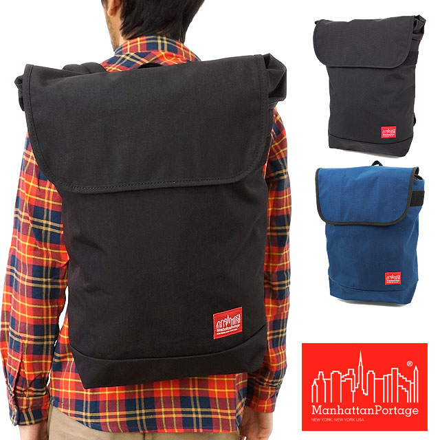 Manhattan PortageマンハッタンポーテージバッグGramercy Backpack背包(帆布背包日膜面护肤)BLACK(MP1218)(Manhattan Portage)