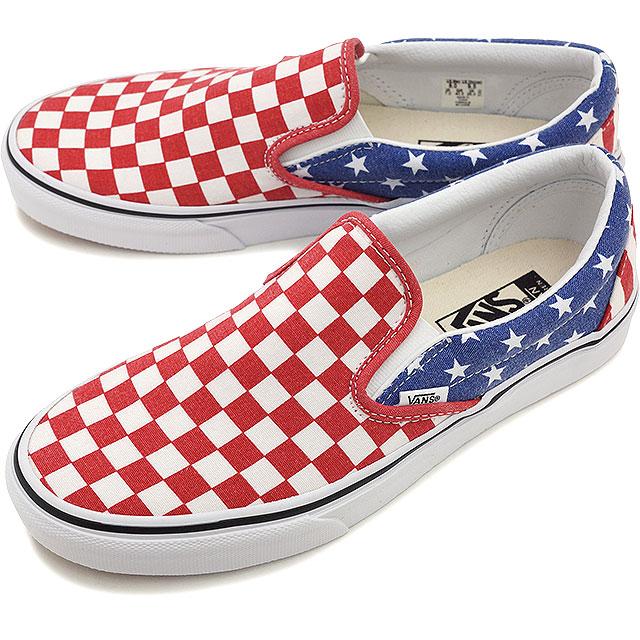 da74d11018 VANS vans sneakers men gap Dis CLASSICS CLASSIC SLIP-ON classical music slip -on (VAN DOREN) STARS STRIPES CHECKER (VN-0ZMRFP1 SS15)