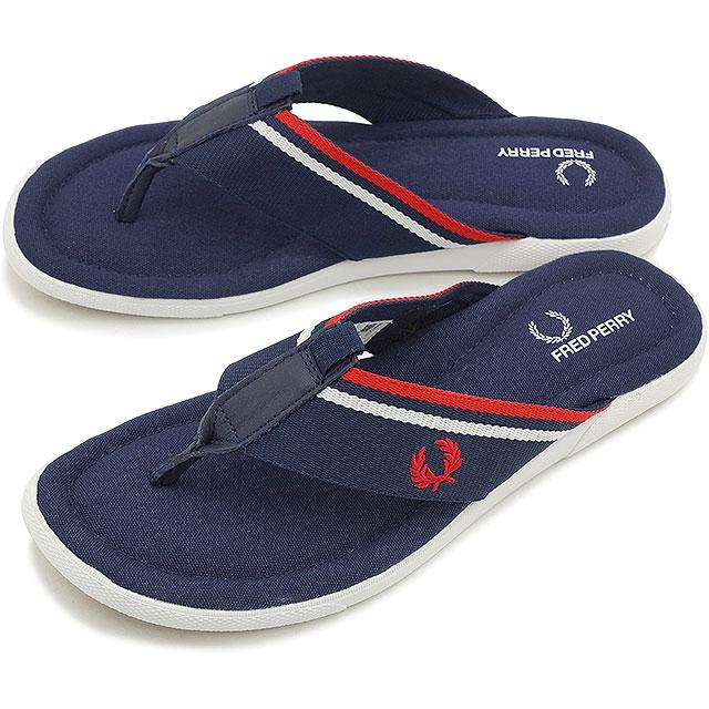 弗雷德 · 佩里 Fred Perry 凉鞋男式织带 SEACROFT 海轮织带皮带凉鞋 (触发器) 碳蓝/红白色 (B6287 266 SS15)