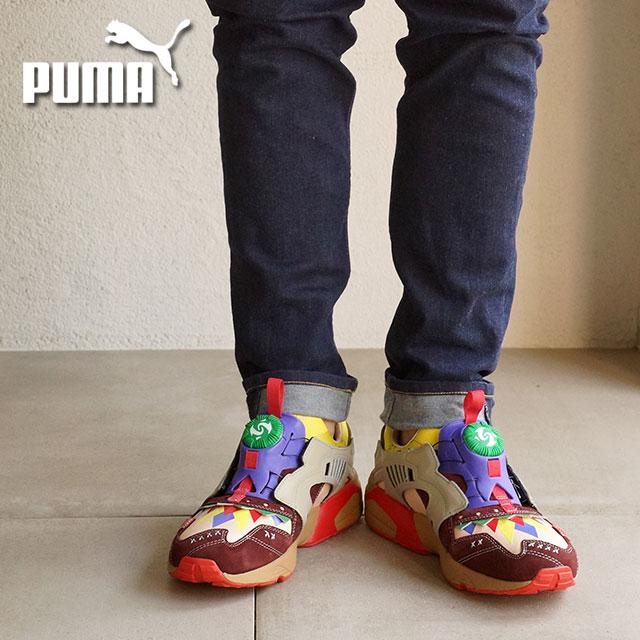 PUMA Puma sneakers men gap Dis DISC TRINOMIC BY OJAGA ディスクトライノミックバイオジャガ  BITTER CHOCOLATE-BL.YELLOW (359 349fe32449