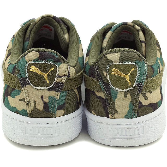PUMA Puma sneakers men gap Dis BASKET CANVAS CAMO basket canvas duck duck green (358,630 03 SU15)