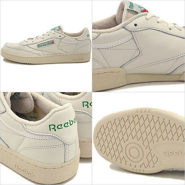 ef69dc5c57400 Reebok classics men s women s sneaker Club Champion 85 vintage Reebok  CLASSIC CLUB C 85 VINTAGE CHALK PAPERWHITE GLEN GREEN EXCLINT RED (V67899  SS16)