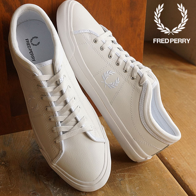 FRED PERRY Fred Perry sneakers shoes men KENDRICK TIPPED CUFF LEATHER  ケンドリックチップドカフレザー WHITE WHITE (B7460U-100) f362e2f81a