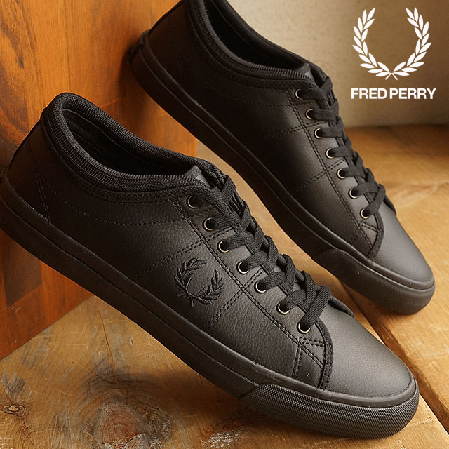 FRED PERRY Fred Perry sneakers shoes men KENDRICK TIPPED CUFF LEATHER  ケンドリックチップドカフレザー BLACK BLACK (B7460U-102) 77aecce443