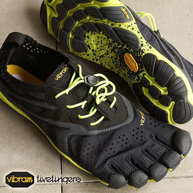 Vibram 五趾鞋 Vibram 五手指男式 V 运行黑色/黄色 Vibram 五手指五手指鞋赤脚的 (16 M 3101)