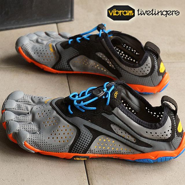 Vibram FiveFingers Vibram five fingers men's V-Run Grey/Blue/Orange Vibram five fingers five finger shoes barefoot (16M3103)