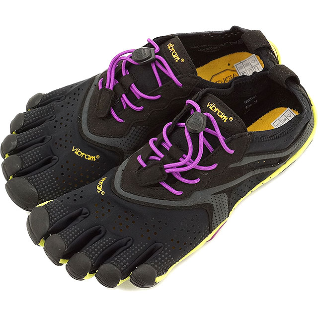 【即納】Vibram FiveFingers ビブラムファイブフィンガーズ レディース V-Run Black/Yellow/Purple ビブラム ファイブフィンガーズ 5本指シューズ ベアフット ウィメンズ 靴 [16W3105]