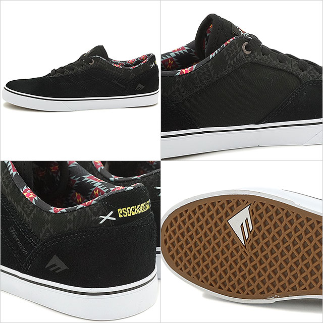 Emerica 滑板鞋運動鞋赫爾曼 G6 巴薩 × soccadelic Emerica 赫爾曼 G6 VULCXPSOCKADELIC 黑色/列印 (SU16)