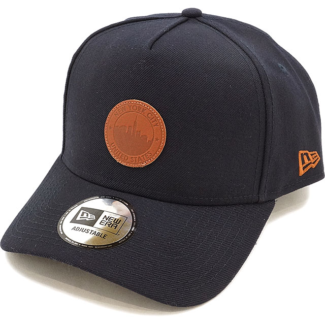 6b8ebd3ca NEWERA new gills cap New Era 9FORTY A-Frame LEATHER PATCH CAP A-frame  leather patch baseball cap hat navy / brown leather (11404708 SS17)