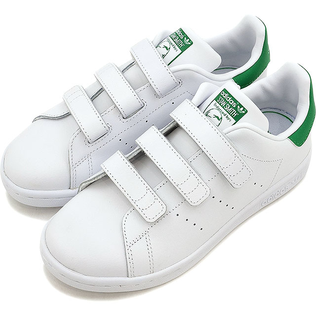 adidas Originals Adidas originals STAN SMITH CF C kids Jr. Stan Smith Velcro comfort R white R white green shoes [M20607 SS17]