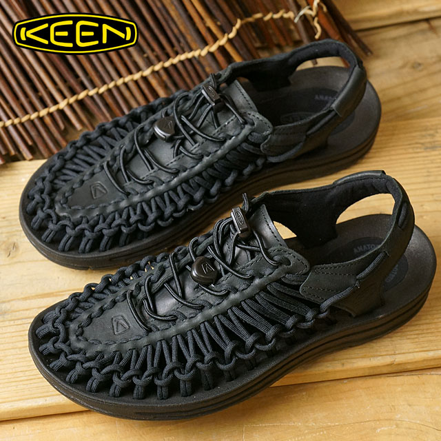 72b4e1e03ed9 Kean KEEN Lady s jasper WMN UNEEK LEATHER sneakers sandal outdoor BLACK RAVEN  (1017063)