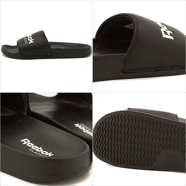 Reebok CLASSIC Reebok classical music CLASSIC SLIDE classical music slide black white shoes [BS7414]