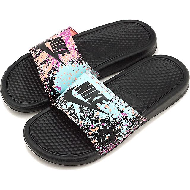 76536e99d021 ... uk nike nike ladys slide sandals wmns benassi jdi print jdi print black  s f pink 618919