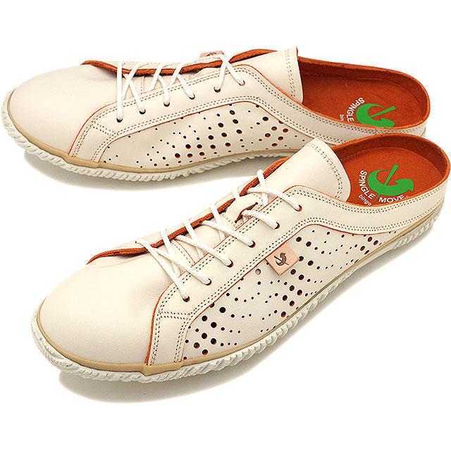 【返品送料無料】SPINGLE MOVE スピングルムーブ SPM-721 レザークロッグサンダル メンズ レディース 靴 スピングル ムーヴ ホワイト/オレンジ [SPM721-76 SS18]