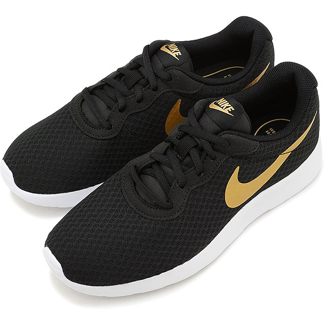 657a4a7ab NIKE Nike tongue Jun sneakers shoes Lady's WMNS TANJUN women tongue Jun  black / metallic gold ...