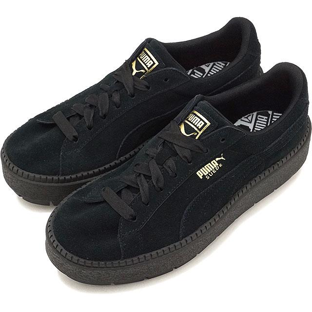PUMA Puma sneakers Lady's SUEDE PLATFORM TRACE WMNS suede cloth platform trace women black black (365,830 01 SS18)