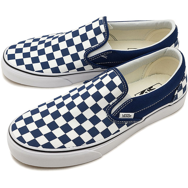 79c422ecbca6 VANS vans men sneakers shoes Checkerboard Classic Slip-On checkerboard  classical music slip-on slip-ons e.blue t. white blue (VN0A38F7QCN SS18)
