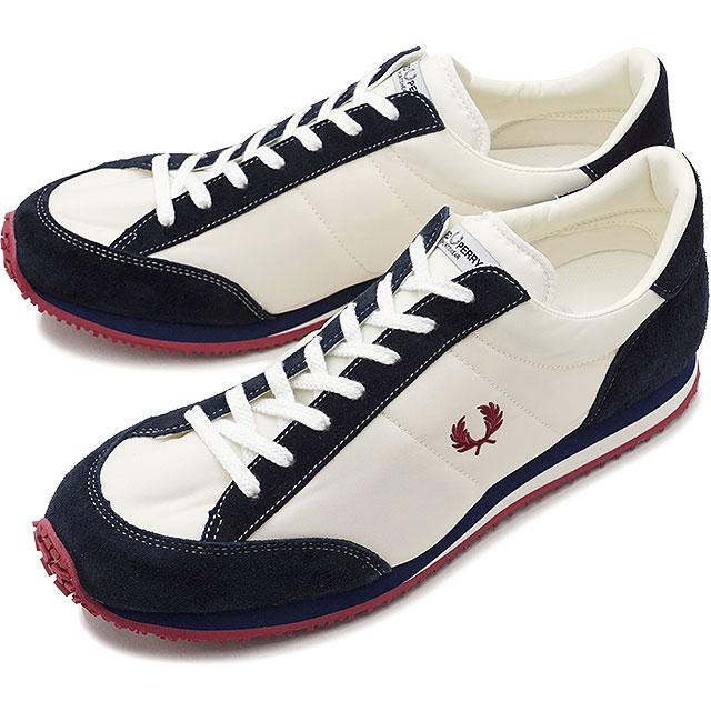 【日本生産モデル】FRED PERRY フレッドペリー スニーカー 靴 メンズ・レディース VINSON NYLON ヴィンソン ナイロン WHITE/NAVY [F29614-80 SS18]