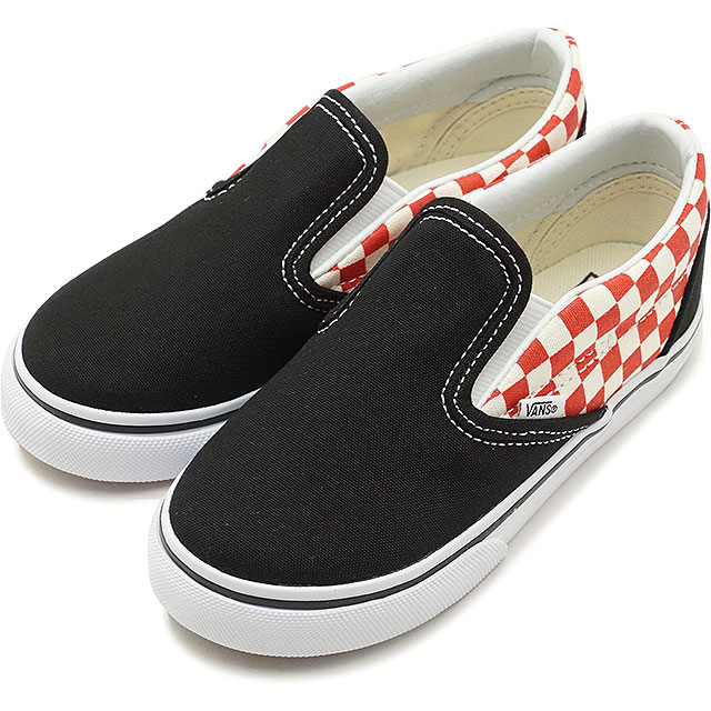 ea75559d5e547b VANS vans kids sneakers shoes Checkerboard Classic Slip-On checkerboard  classical music slip-on slip-ons black red black   red (VN0A32QJ35U SS18)