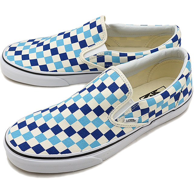 VANS vans men sneakers shoes Checkerboard Classic Slip-On checkerboard  classical music slip-on slip-ons blue topaz/blue blue (VN0A38F7QCM SS18)