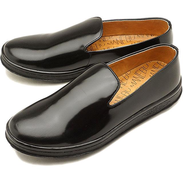 【即納】MANEBU マネブ レザーシューズ HEEHAW FACE SKIN ヒーホー スリッポン スニーカー 靴 ソ-ル BLACK メンズ (MNB-004B)【コンビニ受取対応商品】