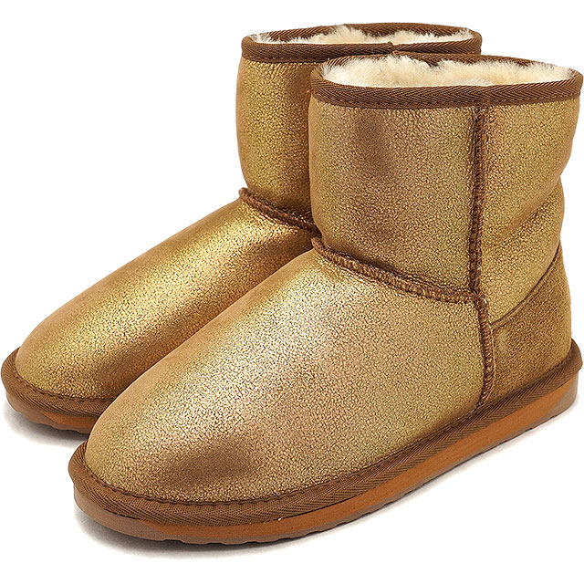 60616e42901 emu emu Australia mouton boots STINGER METALLIC MINI stinger metallic  mini-Lady's shoes GOLD ...