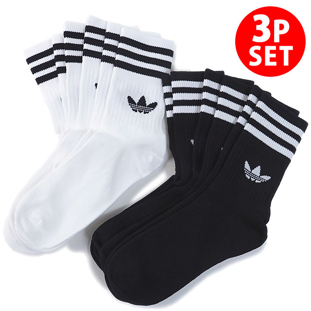 Adidas originals adidas Originals 3 pack crew sock MID CUT CREW SOCKS 3P ???????????? knee lower men gap Dis socks [FWV70DX9092 DX9091 SS19][s][e]
