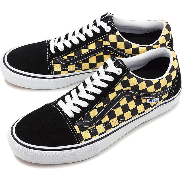 Vans VANS checker old school pro CHECKER OLD SKOOL PRO men station wagons  sneakers shoes BLACK/ASPEN GOLD [VN0A45JCVG2 SS19]