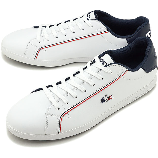 【即納】ラコステ LACOSTE メンズ グラデュエーション MNS GRADUATE 119 3 SMA スニーカー 靴 WHT/NVY/RED ホワイト系 [SMA0022-407 SS19]