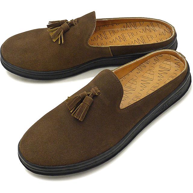 【即納】マネブ MANEBU メンズ プラン スリッパ スエード PRAN SLIPPER SUEDE カジュアルシューズ クロッグサンダル 靴 D.BROWN ブラウン系 [MNB-024S SS19]