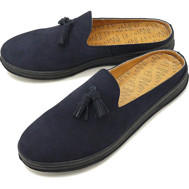【即納】マネブ MANEBU メンズ プラン スリッパ スエード PRAN SLIPPER SUEDE カジュアルシューズ クロッグサンダル 靴 NAVY ネイビー系 [MNB-024S SS19]