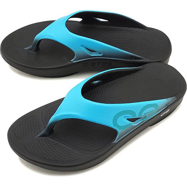 ウーフォス OOFOS ウーオリジナル スポーツ Ooriginal Sport メンズ・レディース ランニング リカバリーサンダル 靴 Black/Aqua ブルー系 [5020030 SS19]