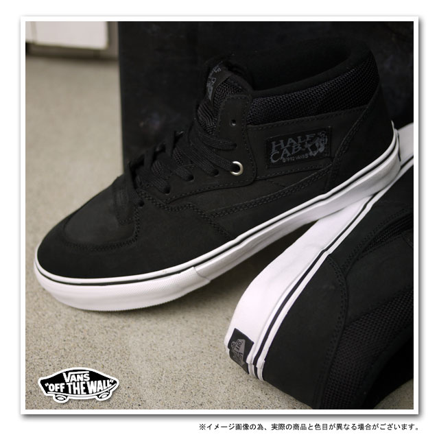 vans half cab black on feet