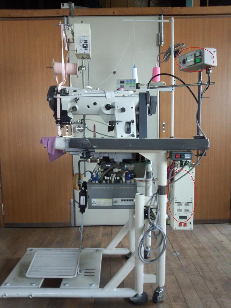 【中古】 シンガー457型 横筒型1本針本縫い自動糸きり装置付き千鳥ミシン。